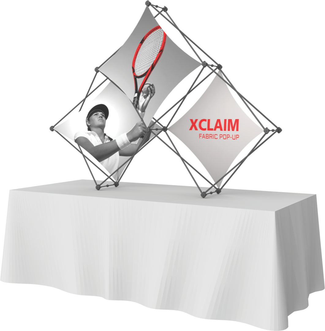 Xclaim 3 Quad Pyramid Frame 7'w Fabric Popup Kit: 3 Graphics