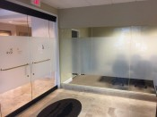 Frosted vinyl glass with frosted vinyl logo